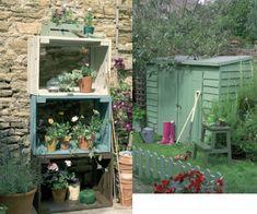 petit cabanon de jardin et caisses en bois pour rangement pots de fleurs peintes avec Proctect'Bois couleur Vert Provence, Prairie et Vert pistachier.