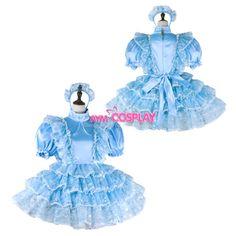 french sissy maid dress satin lockable Unisex Tailor-made[G2269] | eBay