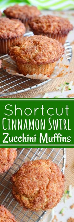 Shortcut Cinnamon Swirl Zucchini Muffins - These are made using a doctored up muffin mix.
