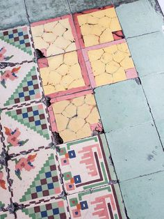 Mexico Travel Inspiration - Tiles from Merida, shot by Brian W. prints and colours - weathered/impressionist Tile Patterns, Textures Patterns, Color Patterns, Print Patterns, Pattern Print, Interior And Exterior, Interior Design, Tuile, The Design Files