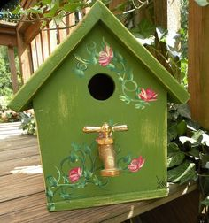 Garden Cottage Birdhouse with Water Faucet by TeamCotyBirdhouses, $45.00