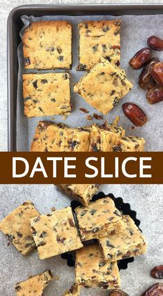 Looking for an easy slice recipe the whole family will love? This simple date slice is a quick melt and mix recipe, and doesn't need fresh dates. Chocolate Marshmallow Cookies, Chocolate Chip Shortbread Cookies, Toffee Cookies, Yummy Cookies, Baking Recipes, Cookie Recipes, Dessert Recipes, Desserts, Keto Galletas