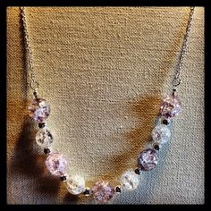 Crackled+Beads+on+a+Silver+Chain+Necklace+by+TarasExpressions,+$24.00
