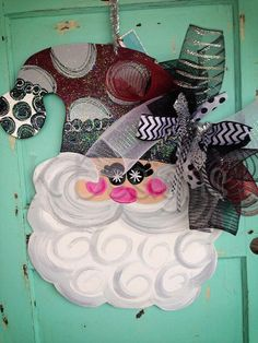 Swirly Personalized Santa Christmas door decor by paintchic, $47.00