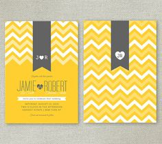 Orange Chevron Wedding party Invitation Set trendy by