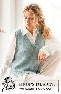 Rose Blush / DROPS 212-44 - Gratis strikkeoppskrifter fra DROPS Design Easy Knitting Patterns, Knitting Patterns Free, Free Knitting, Crochet Patterns, Drops Design, Crochet Cardigan, Knit Crochet, Knit Vest Pattern, Afghan Dresses