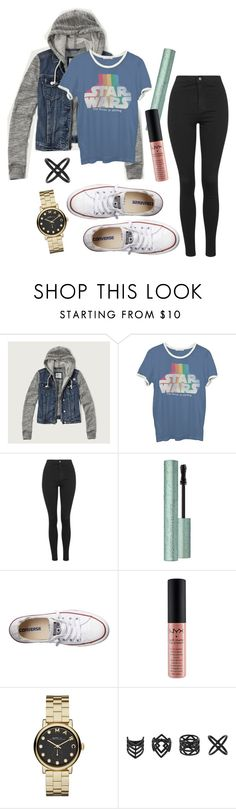 """Outfit 1619"" by giovanna-donini ❤ liked on Polyvore featuring Abercrombie & Fitch, Junk Food Clothing, Topshop, Converse, NYX and Marc by Marc Jacobs"