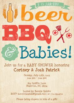 CUSTOMIZED // PRINTABLE // Baby Shower Invitation by BonnieBrands #bbqshower #babyshower