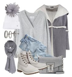 """All Gray"" by monmondefou ❤ liked on Polyvore featuring Boohoo, MANGO, Wrap, Proenza Schouler, Timberland, Bogner, Miss Selfridge, Care By Me and gray"