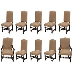 Set of Ten French Oak Dining Chairs