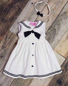 ca9f40b1820b8 Good Lad Girls White Sailor Dress   Baby Girls Sailor Dress Set  Nautical  Girls Dress Set