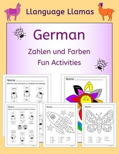 German Numbers and Colors -  Zahlen und Farben. Fun activities for practicing German numbers and colors vocabulary.