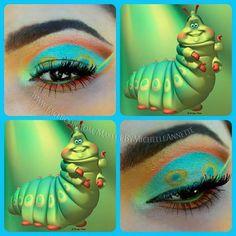 """A Bug's Life """"Heimlich"""" Inspired Makeup Look using mostly Makeup Geek eye shadows. Used Poolside, Mermaid, Appletini Fuji Makeup Geek, Eyeshadow Makeup, Makeup Art, Beauty Makeup, Makeup Stuff, Disney Inspired Makeup, Disney Makeup, Makeup Themes, Homecoming Makeup"""