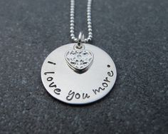 Hand Stamped Jewelry I Love You More in by klacustomcreations, $52.90