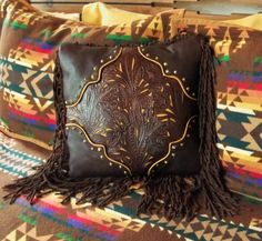Leather and Fringe Pillow