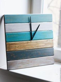 """Wooden wall clock / Часы для дома ручной работы. Ярмарка Мастеров - ручная работа. Купить Часы """"Морские"""". Handmade. Комбинированный, часы интерьерные, для дома"""