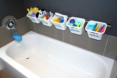 IKEA toy storage hacks for the bathroom via blue I style / Grillo Designs
