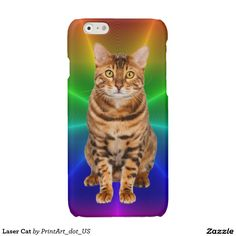 Laser Cat Glossy iPhone 6 Case  Cool looking Bengal Cat in foreground of colorful rainbow pattern.  There is no Laser Cat in real life, but wouldn't it be cool if there was.