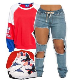 """""""Cheerleader"""" by kiaratee ❤ liked on Polyvore featuring adidas Originals and NIKE"""