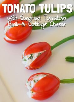 Cherry Tomato Tulips: super simple healthy appetizer to surprise your kids and your guests :-) you can arrange the tomato tulips in a wild flowers field way (like I did) or in a neat bouquet. Easy edible gift for mother's day! No Dairy Recipes, My Recipes, Vegetarian Recipes, Healthy Recipes, Dried Tomatoes, Cherry Tomatoes, Healthy Appetizers, Healthy Snacks, Valentines Food