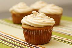 banana cupcakes with cinnamon cream cheese icing.