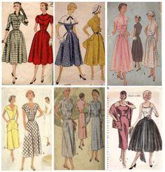 A feminilidade dos anos 50 - Nesta década, a silhueta predominante fora aquela lançada por Dior em 1947. Cintura no lugar, bem marcada e saia rodada e volumosa. Os vestidos/saias de uso diurno tinham o cumprimento que iam até logo abaixo dos joelho