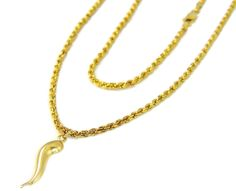 14k Gold Rope Chain with Italian Horn Pendant