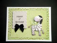 Zebra and Turtle Happy 1st Birthday Card for Baby