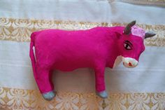 Mexican Papier Mache Bull, 1950s, Hand Painted