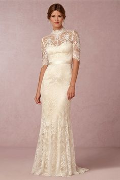 Simple and classic, this gown is sure to inspire with its romantic cut that expresses a timeless look. Inspired by the 1930's you will love the silk fabric covered in ornate lace. Perfect for someone who's more modest or prefers a more conservative look, we think you will love wearing this dress for an indoor or outdoor wedding.