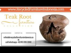 We are exporter and manufacturer of teak root patio furniture in Jepara, Indonesia. Our product range are: teak root bench, teak root chair, teak root stool,. Reclaimed Wood Furniture, Teak, Patio, Youtube, Terrace, Porch, Courtyards