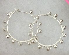 Sterling silver wire wrapped beaded hoop earrings created by Meredith Terry, www.etsy.com/shop/meredithterry