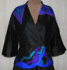 Black Evening Jacket Black and Royal Blue Jacket by laurieschafer, $185.00