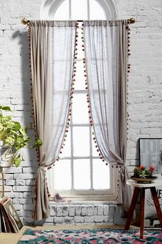 Magical Thinking Pompom Curtain - Urban Outfitters Curtains needed Cortina Boho, Rideaux Design, Curtains With Blinds, Pom Pom Curtains, Boho Curtains, Country Curtains, Bedroom Curtains, Picture Window Curtains, Hallway Curtains