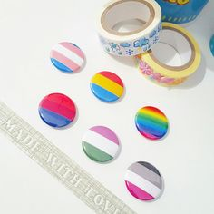 LGBT Pride Flag 1 Inch Pin Back Button Set