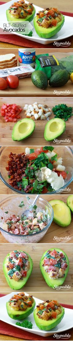 Delicious!! Used croutons instead of bread n added diced cilantro n onions. ......... BLT-Stuffed Avocados @Stepable #recipes