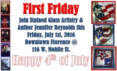 Make plans to come see us Friday night for Downtown Florence's First Friday. Author Jennifer Reynolds will be with us signing paperback copies her novels. We also have a great deal of flag-themed items for sale to help you decorate your home for the 4th of July. #stainedglass #firstfridays