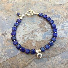 Lapis Lazuli Bracelet, Lapis Bracelet with Sterling Hill Tribe Silver, choose your size.