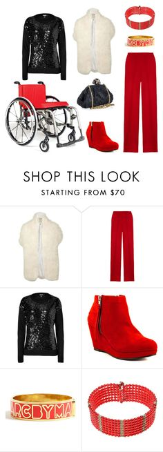"""Fashion Friday: The Play's The Thing"" by spashionista ❤ liked on Polyvore featuring Biba, Giambattista Valli, DKNY, Blink, Marc by Marc Jacobs, Dolce&Gabbana, sequined sweaters, feather stole, red wool trousers and marc by marc jacobs"