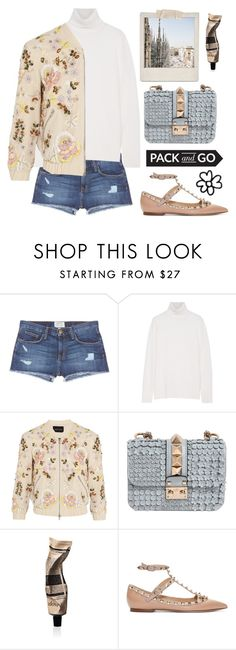 """""""pack your distressed denim your bomber Jacket and go to Milan FW"""" by karineminzonwilson ❤ liked on Polyvore featuring Polaroid, Current/Elliott, Equipment, Needle & Thread, Valentino, Aesop, women's clothing, women, female and woman"""