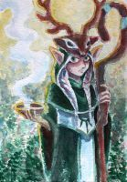 Elf Priest at Dawn by cows-love-clover Based on a little toy. Watercolor on rough paper.