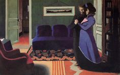 La visite, détrempe de Felix Vallotton (1865-1925, Switzerland)