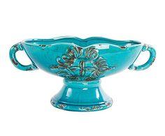 Centro de mesa de cerámica VIII - azul envejecido. Largo: 40 cm Alto: 20 cm Ancho: 18,5 cm 80€