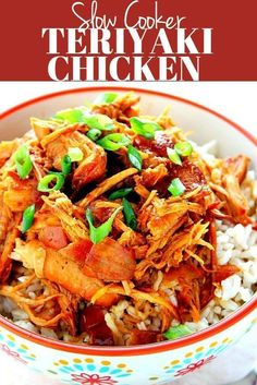Best Slow Cooker Teriyaki Chicken – Crunchy Creamy Sweet Slow Cooker Teriyaki Chicken Recipe – one of the easiest crock pot meals you can make! Chicken thighs or breasts cooked in teriyaki brown sugar sauce and served over rice. Chicken Teriyaki Recipe, Best Chicken Recipes, Crockpot Recipes, Slow Cooker Recipes, Freezer Recipes, Crockpot Dishes, Freezer Cooking, Slow Cooking, Freezer Meals