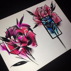 Purple Tattoos, Flower Tattoos, Amazing Drawings, Cool Drawings, Tattoo Sketches, Tattoo Drawings, Body Art Tattoos, Sleeve Tattoos, Watercolor Rose Tattoos