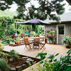 Landscaping Around a Deck  Adding a deck doesn't necessarily mean losing precious ground for your garden. Building a shady pergola over lounge space gives a new home to climbing plants, and potted plants visually soften stair corners. Angled nooks surround this deck with lush landscaping.