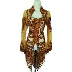 Kebaya Blouse in Brown Color with Sequin