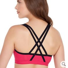 Pink Cross Back Padded Sports Bra NWT. Pink and dark gray. Lily of France brand, listed as lululemon due to similar styling. lululemon athletica Intimates & Sleepwear Bras