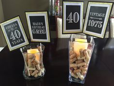 40th birthday decor. Black and gold by CharmingTouchParties