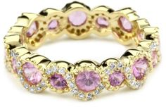"Katie Decker ""Stackable"" 18k Pink Sapphire and Diamond Band"